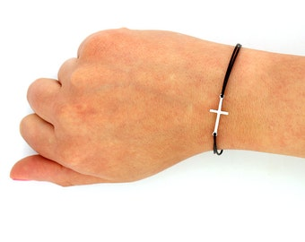 sterling silver Sideways Cross Bracelet sideways cross Bracelet with leather band (B03)