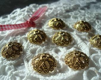 20 Giant, Fancy Open Domed Caps. 20x6mm. Antiqued Golden Or Choose Plain Gold.  Elegant Open Star Crown. ~USPS Ship Rates --from Oregon