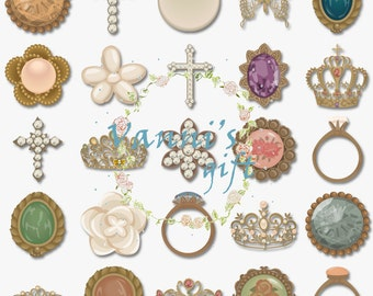 61 Jewelry Diamond Silhouette Digital Download Scrapbooking Clip Art b30