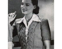 1940's Woman's Fitted Cardigan Knitting Pattern PDF / Vintage Fitted Cable Sweater Pattern / Mad Men Sweater / Instant Download
