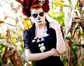 Dia de Los Muertos Day of The Dead  Halloween Skull red velvet rose roses hair flower crown headband fascinator headpiece