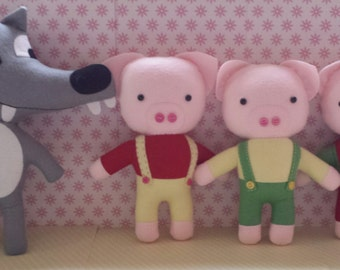 the 3 little pigs and the big bad wolf felt plushie pdf digital download