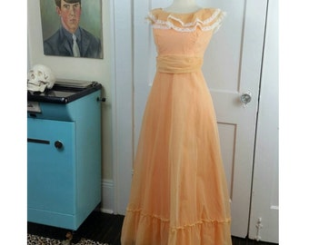 70s Peach Dress Polka Dot Party Gown S/M