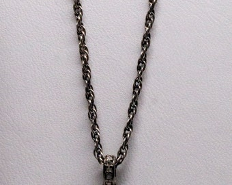 Pave Diamonds Pendant and Silver Chain Necklace
