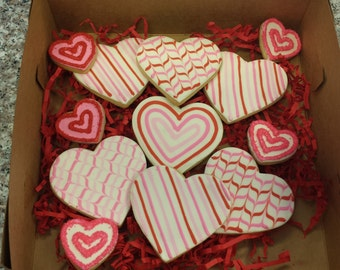 12 Heart Sugar Cookies - Valentine's Day Gift - Girlfriend/Wife Gift