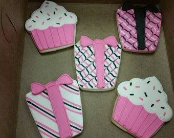 12 Happy Birthday Sugar Cookies - Birthday Present Cookies - Pink and Black Theme Birthday Party Cookies