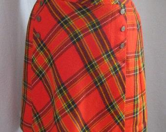 "SALE! Vintage 60s MOD Tartran Plaid Skort Divided SKIRT Skort with Front Button Panel Culottes By Russ Waist 28"""