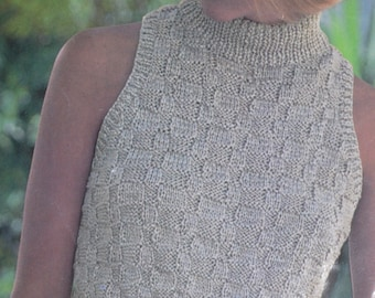 Womens sleeveless polo neck sweater PDF vintage knitting pattern lady's pdf INSTANT download pattern only