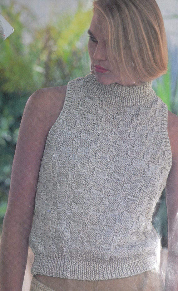 PDF sleeveless polo neck sweater vintage knitting pattern