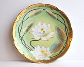 Hand Painted Pickard China AK France - Artist signed by Albert Keates - Art Nouveau Plate - Antique Hand Painted Plate - Lily Pond Design