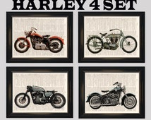 4 Set Harley Davidson Motorcycle dictionary art prints. Get 1 free! Perfect Gift for Motorcycle enthusiasts! Upcycled dictionary page print