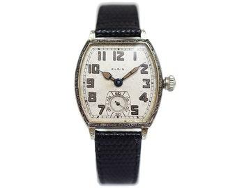 1920s Vintage Elgin Watch Art Deco Details and Larger Tonneau Shape