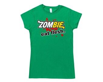 Womens Zombie Eat Flesh T Shirt.