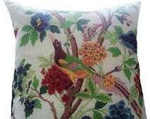 Decorative Designer Pillow-Colorful Bird and Flower Linen Blend Pillow -26x26-Uro Pillow Cover- Accent Pillow Cover- Decorative Pillow Cover