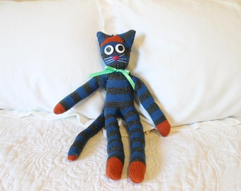 Handmade Sock Animal - Sock Kitty Cat - Stuffed Kitty Cat - Stuffed Animal- Sock Monkey - One of a Kind