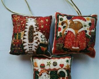 3 cat design Fabric square Christmas tree hanging decorations