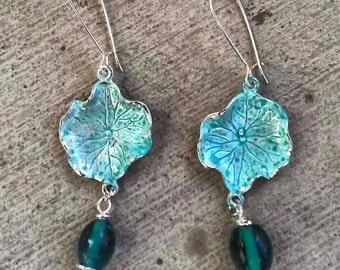 Silver Aqua Earrings, Silver Earrings, Silver Jewlery, Unique, Aqua Lily Pad Earrings, Bohemian, Boho, Hippie, Gypsy, Statement Earrings