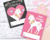 Unicorn Valentines Day Cards printable DIY card  classroom Valentine printable print for kids children classroom cards Valentine's Unicorn