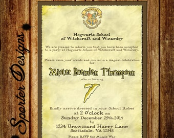 harry potter birthday invitation etsy fr. Black Bedroom Furniture Sets. Home Design Ideas