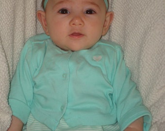 Baby headband, girl headband, flower headband, newborn headband, aqua headband, flower headband, blue green flower clip