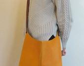 ORANGE leather handbag, cross body handbag, women purse, leather messenger