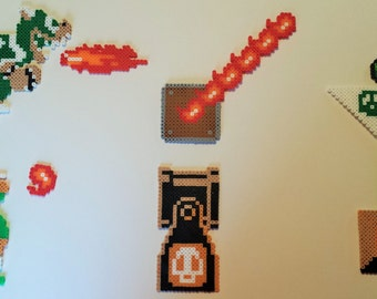 8 bit NES Super Mario Brothers Large Perler Sprite Set:  Magnets and Coasters