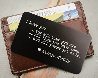 Custom Wallet Insert, Personalized Wallet Card, Metal Wallet Insert, Love Note, Engraved Wallet Card: Valentine's Day, Anniversary, Wedding