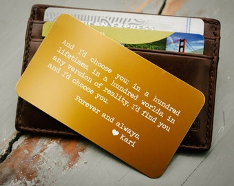 Custom Wallet Insert, Personalized Wallet Card: Valentine's Gift for Him, Anniversary Gift for Men, Father's Day, Deployment Gift