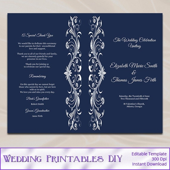 navy wedding program template diy blue order of ceremony half