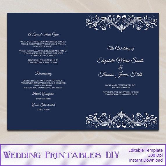 Items Similar To Wedding Program Template, Diy Printable