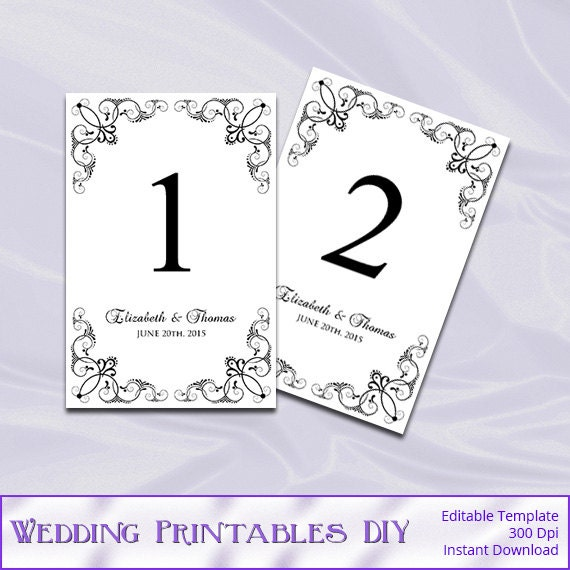 wedding table number template diy black white elegant table. Black Bedroom Furniture Sets. Home Design Ideas