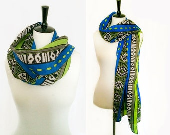 Blue Green Black & White African Tribal Print Shawl Scarf