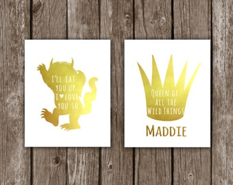 Where The Wild Things Are - I'll Eat You Up I Love You So, Nursery Decor for Girl - Gold Foil Wall Art - Print - Baby Shower Jungle Queen