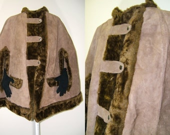 Vintage Suede Leather Cape | Handmade Leather and Faux Fur Cape | 1970s Boho Suede Cape