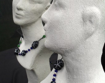 Necklace handwoven indigo beads. handwoven Japanese textiles, cultured pearls. Indian silver, glass beads