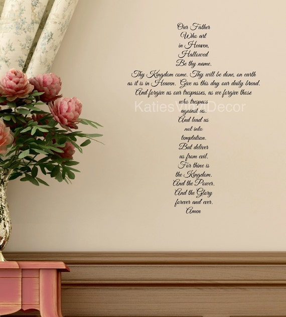 The Lords Prayer Wall Decal Religious Wall Art Bible Verse