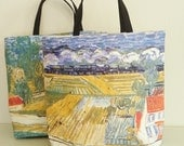 "Luxury tote bags ""The Auvers country side after the rain"", casual chic trendy beach bag,  ladies handbag, Van Gogh printed painted copy."