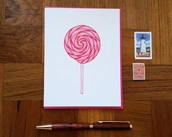 Lollipop, Letterpress Folded Note Card, Blank Inside