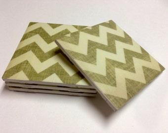 Sea Green Chevron Coasters, Drink Coasters, Tile Coasters, Ceramic Coasters, Table Coasters On Sale