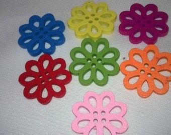 Pack Of 10 Hollow Wooden  Flower Buttons,  Mixed colours