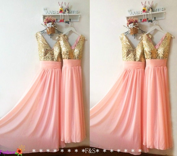 Long blush bridesmaid prom dresspink prom evening dressrose for Pink and gold wedding dress
