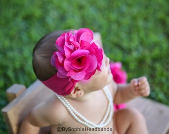 Baby Headband, Hot Pink Flower Headband, Pink Baby Headband, Big Flower Headband, Flower Girl Headband, Pink Big Flower Headband, 914