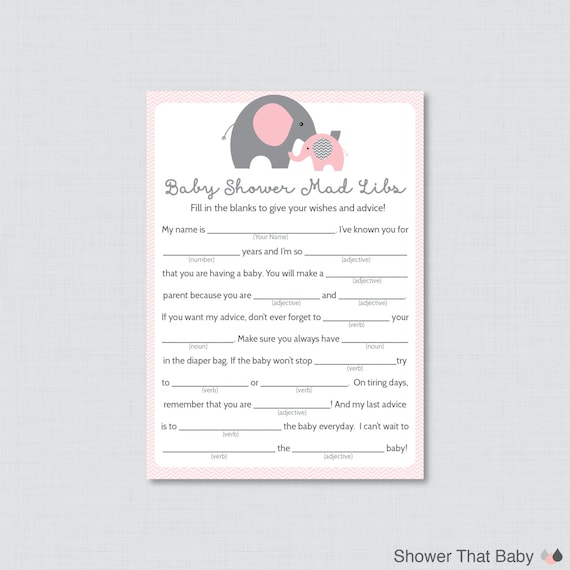 Items Similar To Elephant Baby Shower Mad Libs Printable