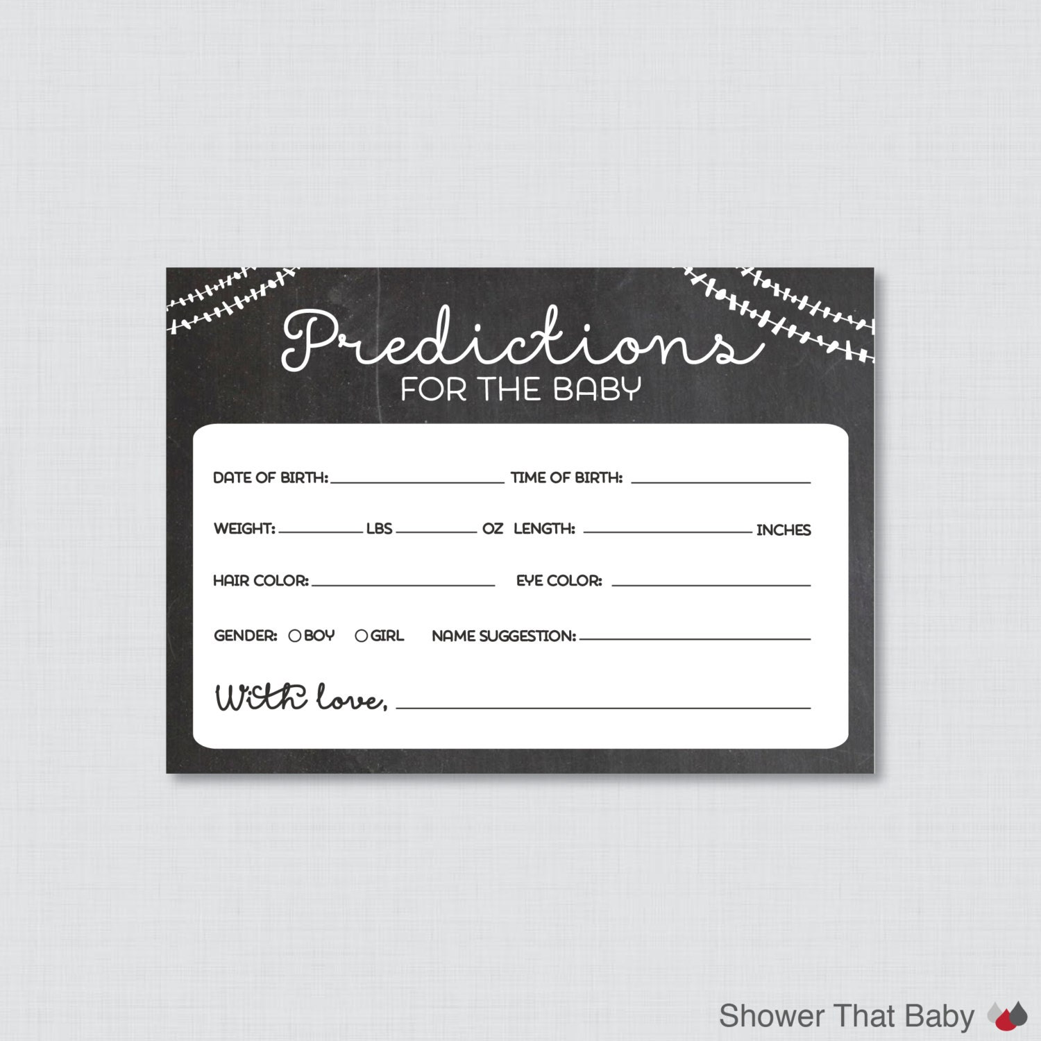 Guess The Birth Date Baby Shower Game: Chalkboard Baby Shower Prediction Cards Instant Download