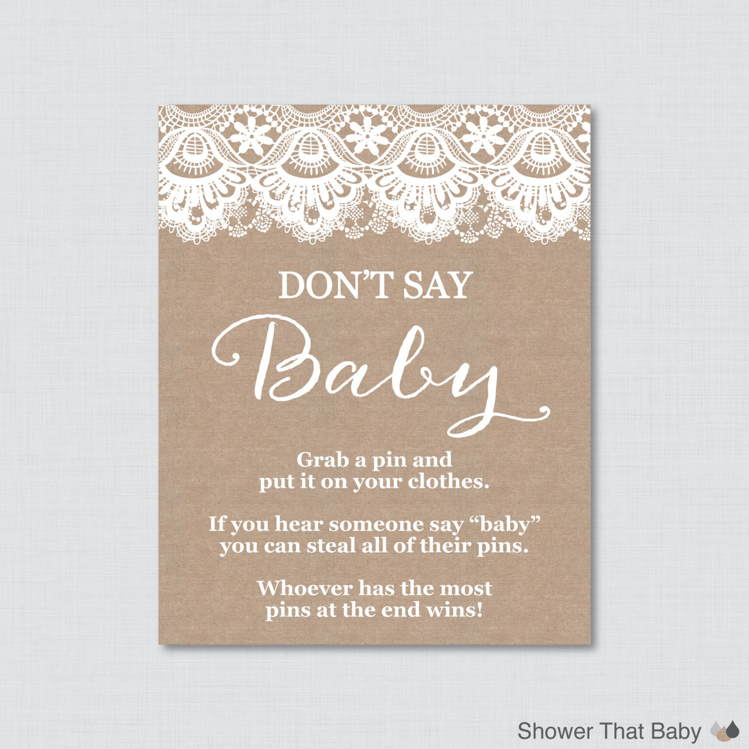 It is a picture of Impertinent Don't Say Baby Printable