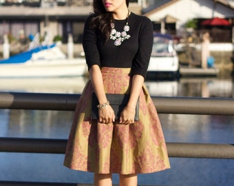 Custom pleated vintage inspired skirt knee length or midi with pockets