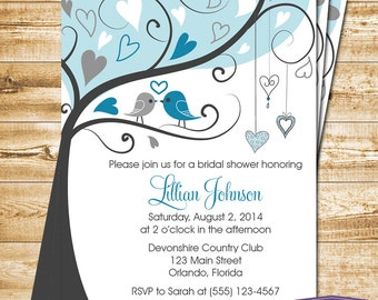 Blue Lovebirds Bridal Shower Invitation - Blue Love Birds Bridal Shower Invite - Lovebirds Wedding Shower Invitation - 1171 PRINTABLE
