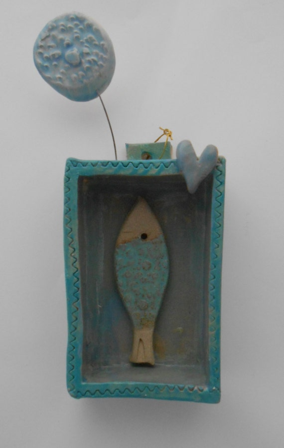 Coastal themed ceramic wall box with fish by for Fish themed bathroom