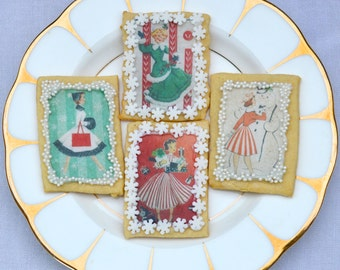 Edible Have a Stripy Christmas 1950s x16 Cookie Decorations Vintage Women Images Wafer Rice Paper Cake Cupcake Toppers Xmas Holidays