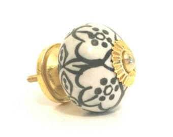 Ceramic Knob - Black and White Sunburst Knob - Tin Base and Hardware Included - Dresser Drawer Pull - Floral Art Handcrafted - Handmade Item